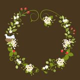 Primavera romantica d'annata dell'uccello di amore della corona del fiore Fotografia Stock