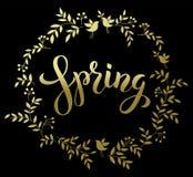Primavera scritta a mano di Brashpen Luthering della primavera in corona dorata sopra Fotografia Stock Libera da Diritti