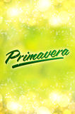 Primavera - Spring spanish text. Blurred spring background Stock Photo
