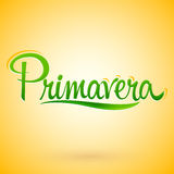 Primavera, Spring spanish text, vector lettering design Royalty Free Stock Images