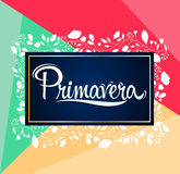 Primavera, Spring spanish text. Vector lettering design - eps available Stock Images
