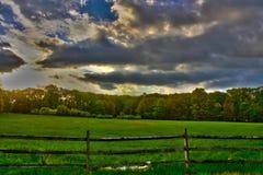Primavera temprana HDR de la granja del trigo Foto de archivo libre de regalías