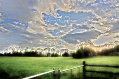 Primavera temprana HDR de la granja del trigo Imagen de archivo