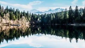 Primavera Timelapse 4k de las montañas de la reflexión del lago metrajes