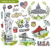 Primavera in U.S.A. Punti di riferimento famosi, insieme floreale della decorazione royalty illustrazione gratis