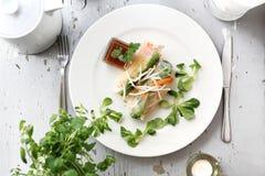 Primavera vegetal, fresca rollsy Un bocado vegetariano sano imagenes de archivo