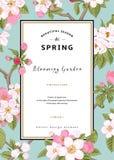 Primavera vertical de la tarjeta del vector del vintage stock de ilustración