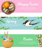 Primavera y banderas felices del web del vector de Pascua fijadas ilustración del vector