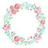 Primavera y guirnalda pintada a mano de la acuarela de las flores del verano Imágenes de archivo libres de regalías