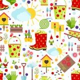Primavera y modelo inconsútil que cultiva un huerto Herramientas, decoraciones y símbolos estacionales de la primavera en un fond ilustración del vector