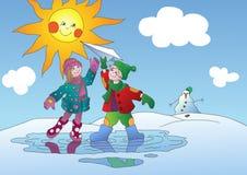 Primavera y niños libre illustration