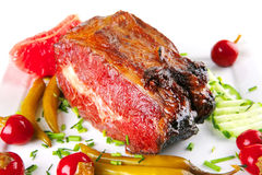 Prime beef chunk and peppers Royalty Free Stock Photography