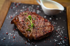 Prime Black Angus New York strip steak Stock Photos