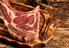 Prime matured raw tomahawk steak. Prime matured raw tomahawk, or bone-in rib eye, steak ready for grilling on an old rustic wooden tray, close up high angle view royalty free stock photos