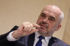 Prime Minister of Albania Edi Rama. London, Great Britain - 26 February 2018: Prime Minister of Albania Edi Rama participates in the Western Balkans Investment Royalty Free Stock Photography