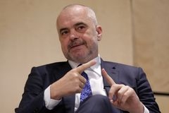 Prime Minister of Albania Edi Rama. London, Great Britain - 26 February 2018: Prime Minister of Albania Edi Rama participates in the Western Balkans Investment Stock Image