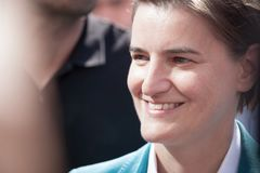 Prime Minister Ana Brnabic Smiling In The 2018 Edition Of Belgrade Gay Pride. Royalty Free Stock Image