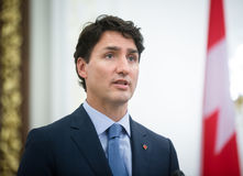 Prime Minister of Canada Justin Trudeau. KIEV, UKRAINE - Jul 11, 2016: Prime Minister of Canada Justin Trudeau during his official visit to Kiev, Ukraine royalty free stock photo