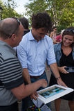 Prime Minister Justin Trudeau Presented Picture of Himself stock photo