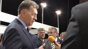 Prime minister of Lithuania gives an interview stock video footage