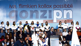 Prime Minister of Malta. Addressing the crowd during a mass rally for the Nationalist Party during the campaign for the March 2008 Malta General Elections Stock Photo