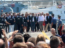 Prime Minister Matteo Renzi and Costa Concordia Royalty Free Stock Images