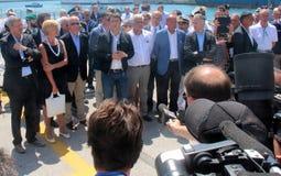 Prime Minister Matteo Renzi and Costa Concordia Royalty Free Stock Image