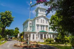 Prime minister official residence in Georgetown. GEORGETOWN, GUYANA - AUGUST 10, 2015: Prime minister official residence in Georgetown, capital of Guyana royalty free stock photo