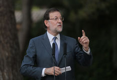 Prime minister Rajoy 044. Spains prime minister Mariano Rajoy gestures during a presss comference after his meeting with the King of Spain at Marivent palace, in Stock Images