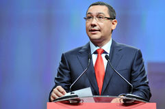 Prime minister of Romania Victor Ponta body language during speech Stock Photography