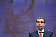 Prime minister of Romania Victor Ponta body language during speech Royalty Free Stock Photography