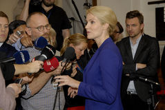 PRIME MINISTER TALKING TO PRESS MEDIA. Copenhagen /Denamrk _12 May 2015_Ms.Helle Thorning-Schmidt danish prime minister and leader shocial democrat talking to Royalty Free Stock Image