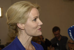 PRIME MINISTER TALKING TO PRESS MEDIA. Copenhagen /Denamrk _12 May 2015_Ms.Helle Thorning-Schmidt danish prime minister and leader shocial democrat talking to Royalty Free Stock Photo