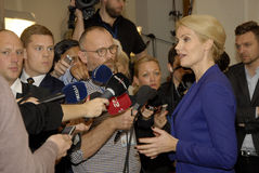 PRIME MINISTER TALKING TO PRESS MEDIA. Copenhagen /Denamrk _12 May 2015_Ms.Helle Thorning-Schmidt danish prime minister and leader shocial democrat talking to Stock Images