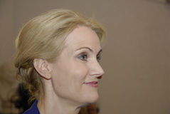 PRIME MINISTER TALKING TO PRESS MEDIA. Copenhagen /Denamrk _12 May 2015_Ms.Helle Thorning-Schmidt danish prime minister and leader shocial democrat talking to Royalty Free Stock Images
