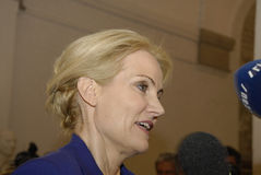 PRIME MINISTER TALKING TO PRESS MEDIA Royalty Free Stock Photos