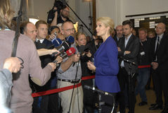 PRIME MINISTER TALKING TO PRESS MEDIA. Copenhagen /Denamrk _12 May 2015_Ms.Helle Thorning-Schmidt danish prime minister and leader shocial democrat talking to Stock Photography