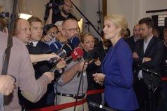 PRIME MINISTER TALKING TO PRESS MEDIA Stock Image