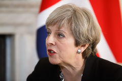 Prime Minister of the United Kingdom Theresa May. LONDON, UK - Apr 10, 2017: Prime Minister of the United Kingdom Theresa May during an official meeting with the Stock Images