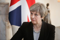 Prime Minister of the United Kingdom Theresa May. LONDON, UK - Apr 10, 2017: Prime Minister of the United Kingdom Theresa May during an official meeting with the stock photo