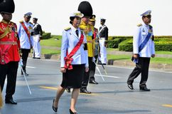 Prime Minister, Yingluck Shinawatra marching Stock Images