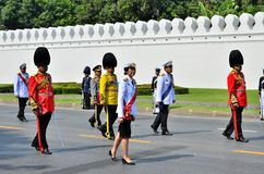 Prime Minister, Yingluck Shinawatra marching Stock Photography