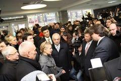 Prime-minister, Yuliya Timoshenko visit Metalist Stock Photos