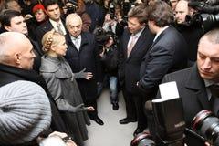 Prime-minister, Yuliya Timoshenko visit Metalist Royalty Free Stock Image