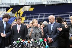 Prime-minister, Yuliya Timoshenko visit Metalist Stock Photo