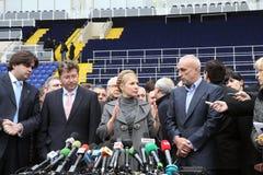 Prime-minister, Yuliya Timoshenko visit Metalist. KHARKOV, UKRAINE - DECEMBER 5: Prime-minister of Ukraine, Yuliya Timoshenko visit within Metalist soccer Stock Photo