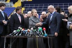 Prime-minister, Yuliya Timoshenko visit Metalist. KHARKOV, UKRAINE - DECEMBER 5: Prime-minister of Ukraine, Yuliya Timoshenko visit within Metalist soccer Royalty Free Stock Photo