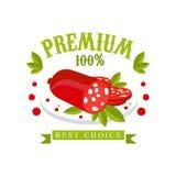 Prime 100 pour cent, la meilleure conception bien choisie de calibre de logo, insigne pour le magasin de viande, boucherie, march Photo stock