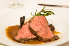 Prime Rib with Gravy and Rosemary Stock Image