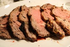 Prime Rib Sliced And Served stock image